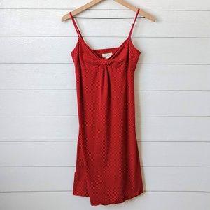 LOFT Red & White Dot Sun Mini Cami Dress Medium